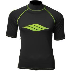 Slippery Short Sleeve Rashguard Black/Lime (Black, Large)