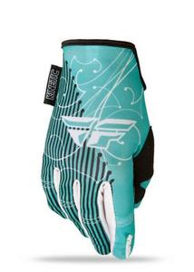 Fly Racing Kinetic Womens Gloves (2015) Teal/White (Green, X-Large)