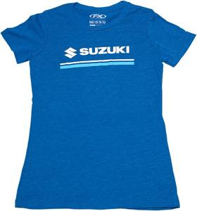 Factory Effex Licensed Suzuki Stripes T-Shirt Heather Royal Women's Size L