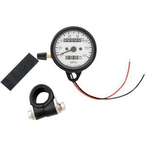 Drag Specialties 2210-0252 Mini Mechanical Speedometer - 2:1 Ratio with White Face and Tripmeter