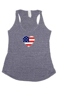 Women's USA Flag Tri-Blend Tank Top American Love Heart: DENIM (Small)