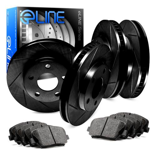 For Subaru Impreza Front Rear Black Slotted Brake Rotors+Semi-Met Brake Pads