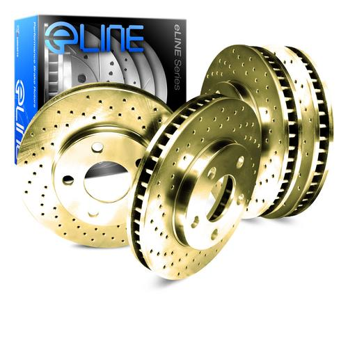 For 1991-1994 Lincoln Town Car Front Rear eLine Gold Drilled Brake Rotors