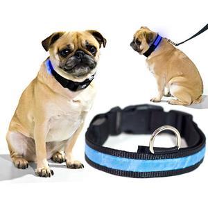 Biltek Blue LED Light Dog Collar - X-Large - Dog Pet Night Safety Fashionable Flashing Light Up Collar Nylon Large Adjustable