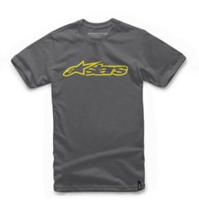 Alpinestars Blaze T-Shirt Charcoal/Yellow (Gray, Small)