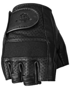 Highway 21 Half Jab Perforated Leather Gloves (Black, Small)