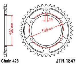 JT Sprockets Steel Rear Sprocket 56T 428 Pitch JTR1847.56