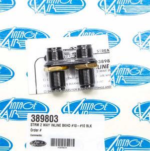 VINTAGE AIR Black Anodize Aluminum 2 Port Streamline Bulkhead Plate P/N 389803