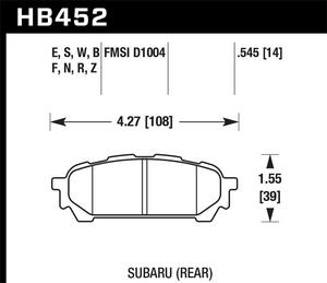 Hawk Performance HB452F.545 Disc Brake Pad Fits 04-08 9-2X Forester Impreza