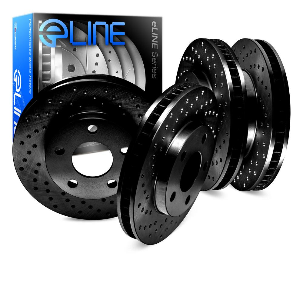 For 1983-1984 Volvo 760 Front Rear eLine Black Drilled Brake Rotors