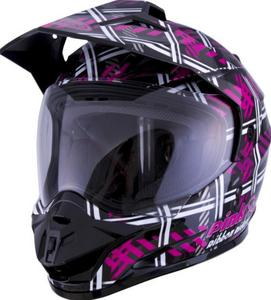 G-Max GM11D Dual Sport PRR Plaid Helmet Black/Pink (Black, X-Large)