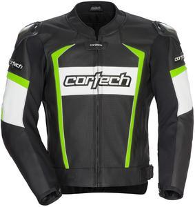 Cortech Adrenaline 2.0 Leather Jacket Black/Hi-Viz (Black, Small)