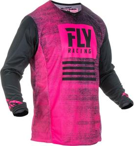 Fly Racing Kinetic Noiz Youth Jersey Neon Pink/Black (Pink, Small)