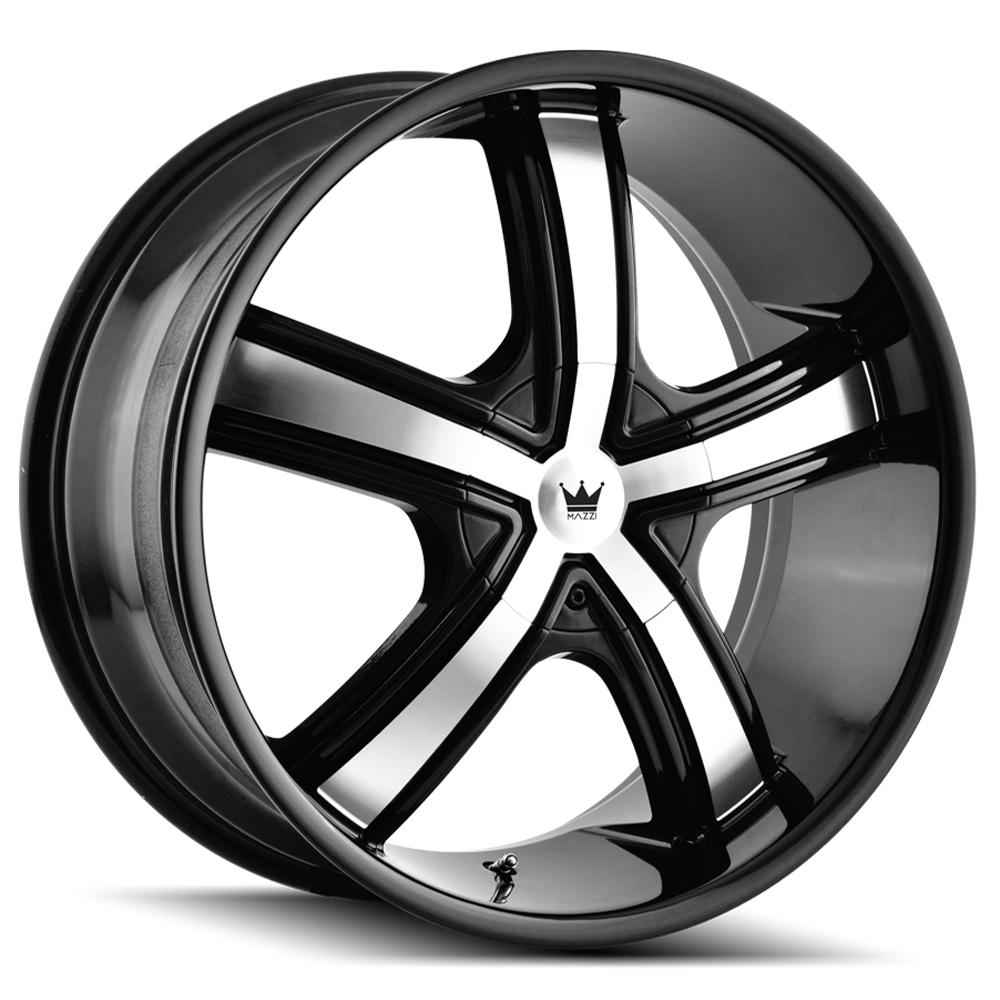 "4-Mazzi 359 Boost 20x8.5 5x112/5x120 +35mm Black/Machined Wheels Rims 20"" Inch"