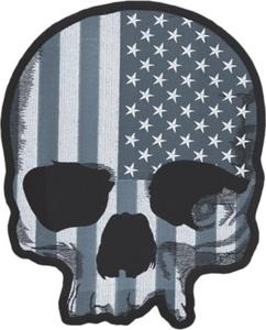 Lethal Threat LT30183 USA Flag Skull Gray Embroidered Patch