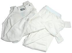 RJS SAFETY XS White Long Sleeve 2 Piece Bottom/Top Underwear Set P/N 800010002