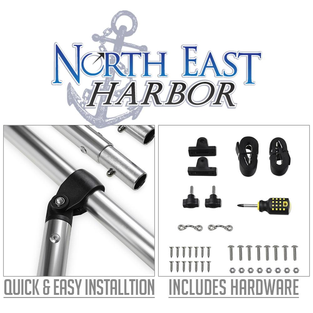 """North East Harbor 3 Bow Boat Bimini Top Cover Gray With Rear Support Poles and Zippered Boot Fits 85""""-90"""" Width Beam V-Hull Fishing Ski Boat Runabout Pro Bass"""