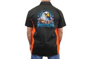 "Biker Mechanic Work Shirt ""Freedom's Never Free"" BLACK/ORANGE (5X)"