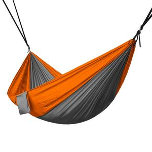 Portable 2 Person Hammock Rope Hanging Swing Fabric Camping Bed - Grey & Orange