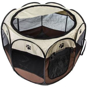 """Foldable Pet Exercise Pen / Portable Playpen 34""""W x 24""""H for Dogs Puppys - Brown"""
