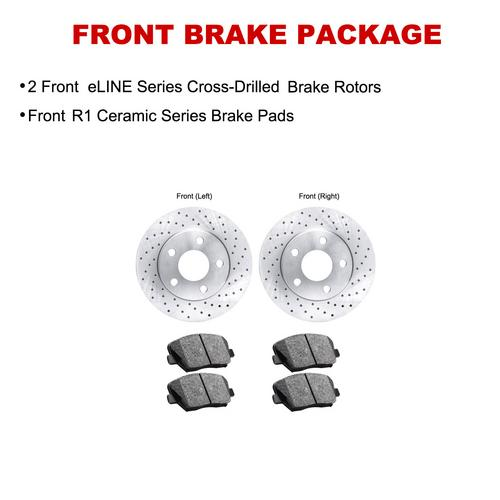 For 1975 Honda Civic Front eLine Drilled Brake Rotors + Ceramic Brake Pads