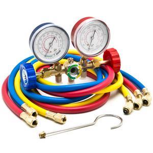 """Biltek HVAC R12 R22 R502 A/C Diagnostic Manifold Gauge Kit w/ 3 Color 60"""" Charging Hose"""