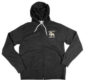 Answer Stamp Zipper Hoodie (Black, Small)
