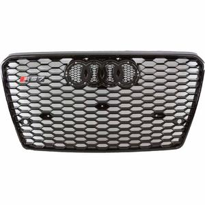 2012-2015 Audi A7/S7 RS7 Style Front Hex Mesh Grille - Gloss Black Badgeless