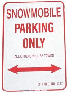 Voss 1218SPK 12x18in. Parking Only Sign - Snowmobile