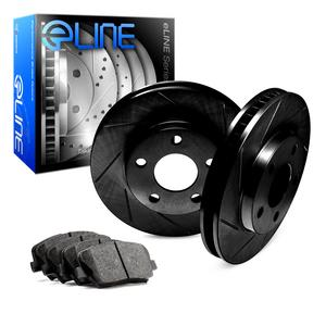 For 1998 Volkswagen Jetta Rear Black Slotted Brake Rotors + Ceramic Brake Pads
