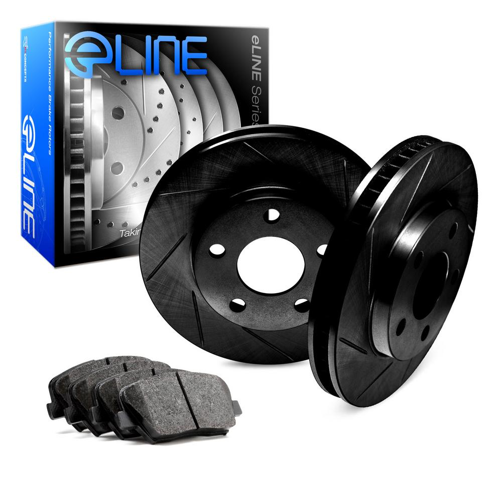 For 2004-2011 Mazda RX-8 Front eLine Black Slotted Brake Rotors+Semi-Met Pads