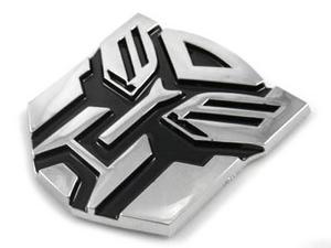 "TRANSFORMERS AUTOBOTS 2.75"" MEDIUM 3D EMBLEM - CHROME/BLACK"
