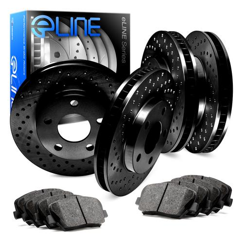 For Volkswagen Corrado Front Rear Black Drilled Brake Rotors+Semi-Met Brake Pads