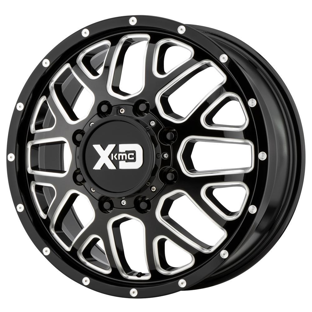 "XD843 Grenade Dually Front 17x6.5 8x6.5"" +111mm Black/Milled Wheel Rim 17"" Inch"