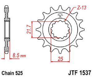 JT Sprockets Steel Front Sprocket 19T 525 Pitch JTF1537.19