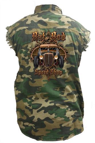 Men's Camo Sleeveless Denim Shirt Rat Rod Speed Shop Denim Vest: (4XL)