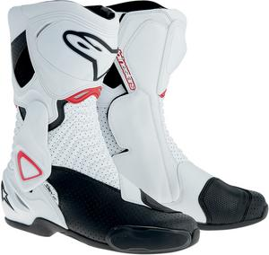 Alpinestars S-MX 6 Vented Street Riding Motorcycle Boots White/Black/Red Mens Size 3.5