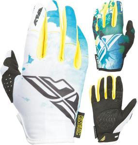 Fly Racing Kinetic Girls Youth Gloves Teal/Yellow (Blue, 4)