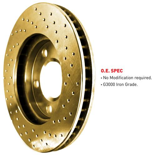 For 2003-2007 Honda Accord Front eLine Gold Drilled Brake Rotors+Semi-Met Pads