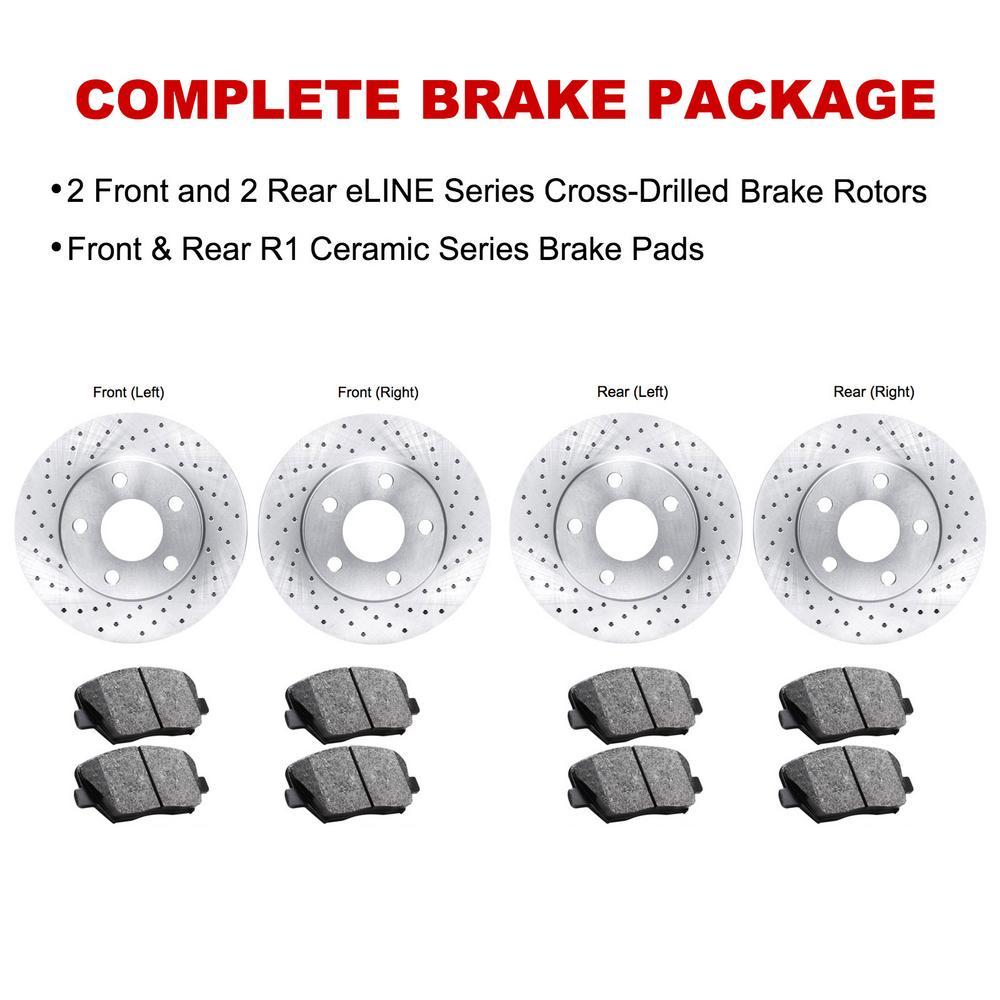 For 2015 Ford F-150 Front Rear eLine Drilled Brake Rotors + Ceramic Brake Pads