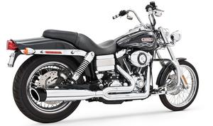 Freedom Union 2 Into 1 Exhaust Chrome w/ Black Tip for Dyna FXD 06-14
