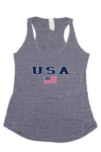 Women's USA Flag Tri-Blend Tank Top American Pride: DENIM (Large)