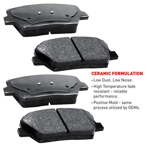 For 2003-2005 Saab 9-3 Front eLine Plain Brake Rotors + Ceramic Brake Pads