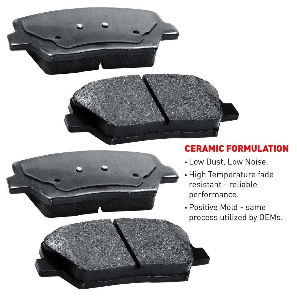 For 2009-2011 Ford Focus Front eLine Plain Brake Rotors + Ceramic Brake Pads