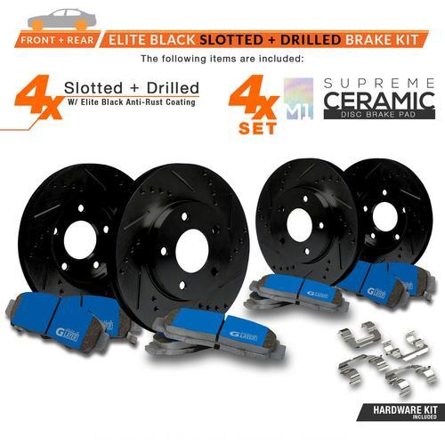 Rear Premium Slotted Drilled Rotors w//Ceramic Pads Performance Brake Kit KT188733 Fits 2013-2018 Nissan Pathfinder Max Brakes Front