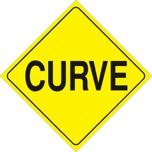 Voss 423 CU YR 12x12in. Reflective Trail Sign - Curve (Yellow/Black)
