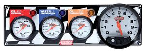 QUICKCAR RACING PRODUCTS White Face Gauge Panel Assembly P/N 61-6041