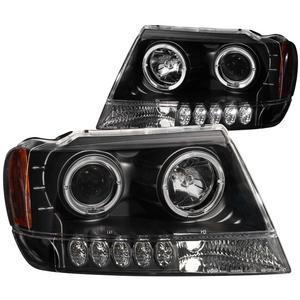 Anzo USA 111043 Projector Headlight Set w/Halo Fits 99-04 Grand Cherokee (WJ)