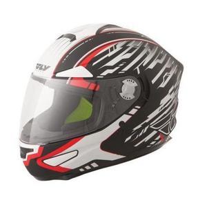Fly Racing Luxx Shock Helmet Matte/Black/White/Red (Black, Small)