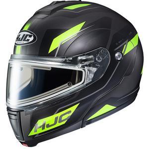 HJC CL-Max III Flow Snow Helmet with Electric Shield Semi-Flat Hi-Viz Yellow (MC-3HSF) (Black, Large)